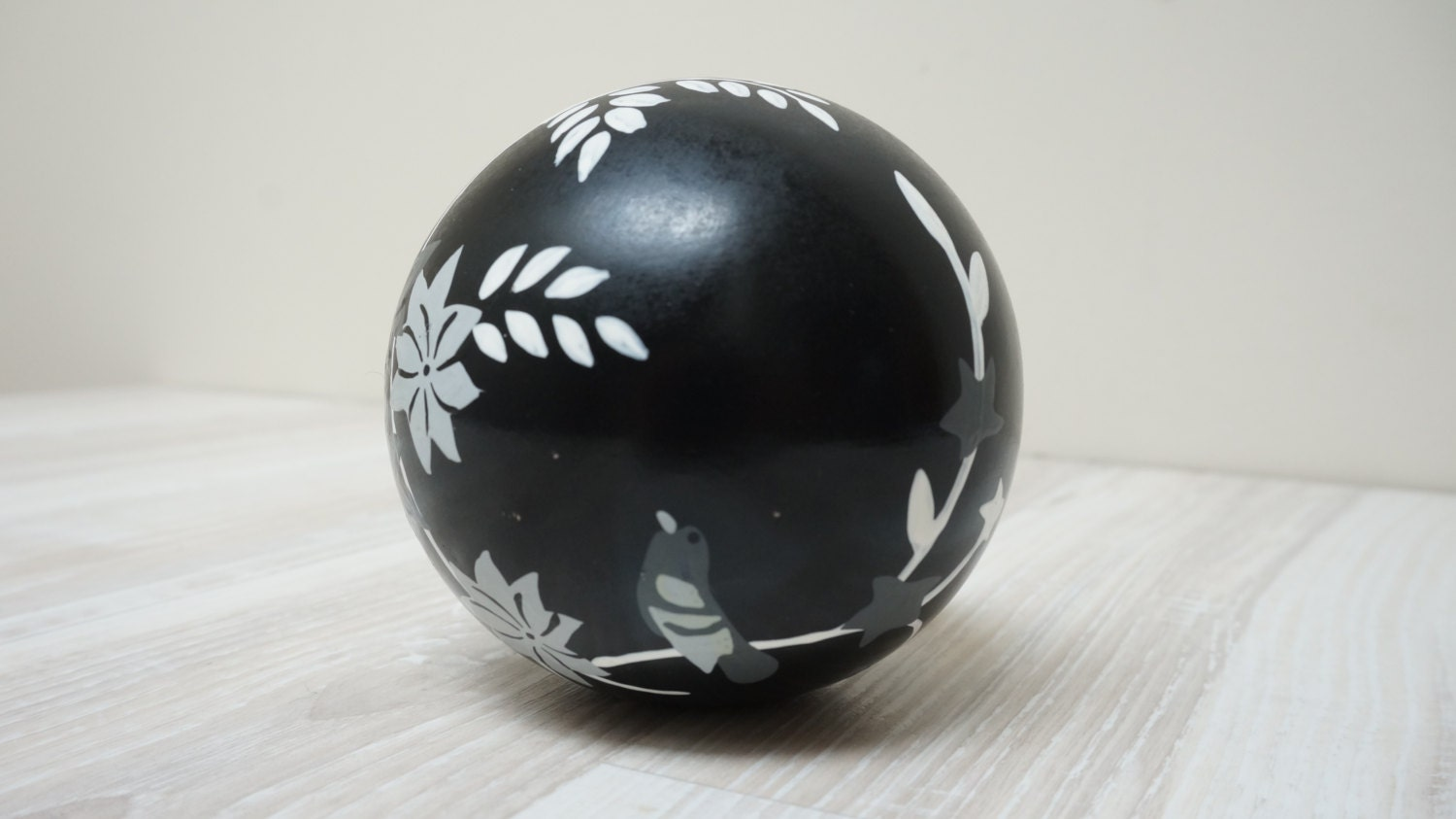 Paperweight Wooden Painted Sphere Ball White Black Vintage