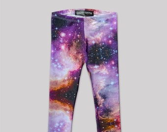 Supernova Leggings// galaxy space print cotton spandex high waisted girls kids babies toddlers