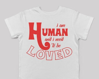 I am Human tee for big kids in white/ unisex alternative cool kids fashion the smiths morrissey fan 80s 90s britpop graphic band tee