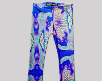 Holographic Print Leggings// girls toddlers babies cotton spandex printed leggings high waisted
