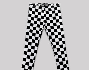 Check Mate Leggings// girls toddlers babies high waisted black and white checkers cotton spandex brit pop