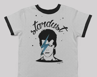 Stardust ringer tee with glitter for big kids/ unisex kids tee david bowie inspired pop 80s cool kids clothes