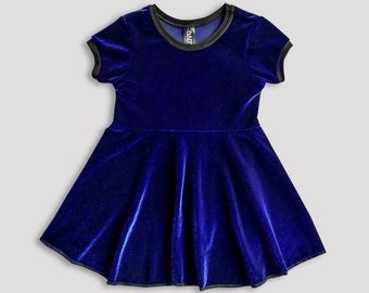 Royal Blue Velvet skater dress for kids/ girls dress holiday birthday occasion young fashion cool kids clothes