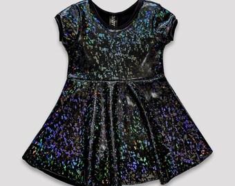 Black holographic girls dress// black confetti sparkly skater dress