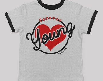 Forever Young ringer tee for big kids/ new wave dark wave 80s 90s music tee cool kids clothes