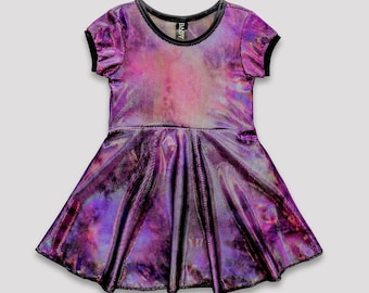 Violet Hour Skater Dress// purple holographic girls holiday birthday tie dye sequin