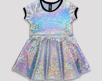 Crystal Ball Skater Dress// holographic silver confetti girls dress