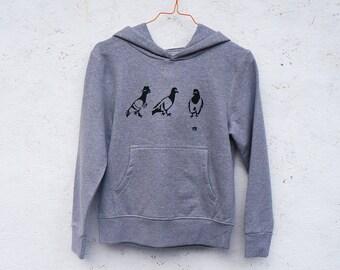 SALE! SPY PIGEON organic hoody for kids in melange grey / gray
