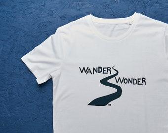 Wander Wonder white organic t-shirt for men/ unisex