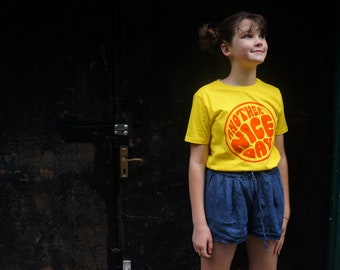 Another Nice Day Too organic t-shirt for kids in yellow