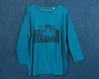 SALE! Fat Cat Sat on the Mat hand screen printed teal long sleeve t-shirt for women