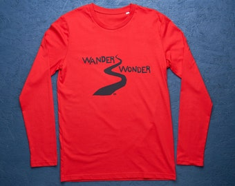 Wander Wonder red long sleeve organic t-shirt for men/unisex