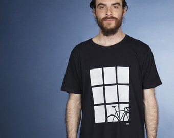 Bike by Window hand screen printed organic t-shirt for men in navy - gift for cyclists
