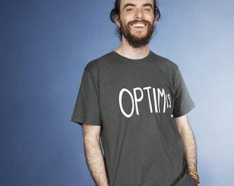Over Optimistic hand screen printed organic t-shirt for men in dark grey