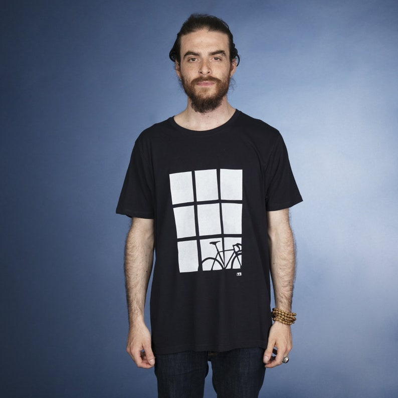 Bike by Window hand screen printed organic t-shirt for men in image 0
