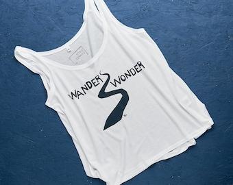 Wander Wonder hand screen printed tencel jersey vest for women in white