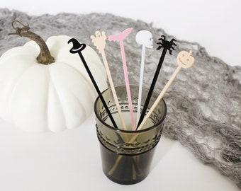 Halloween Drink Stirrer • build your set • cocktail stir sticks • swizzle sticks • pumpkin, skeleton, bat, witch, spider and ghost