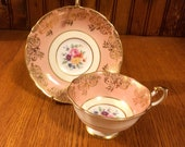 Double Warrant Paragon Bone China A 2106 10 Pink with Gold Scroll Floral Bouquet Cup and Saucer Teacup and Saucer