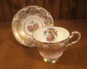 Vintage Paragon Pink with Gold Swirls Flowers and a Bird Teacup and Saucer Cup and Saucer