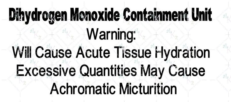 c2e1fc5d08 Nerd WaterBottle Label Dihydrogen Monoxide Containment Unit | Etsy