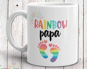 Rainbow Papa Mug, Baby Shower Gift, New Dad Gift, Papa Gift, Grandpa Gift, Rainbow Baby Gift Idea, Baby Announcement, Pregnancy Reveal Mug