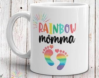 Rainbow Baby Gift, Rainbow Baby Shower Gift, Baby Mug, Rainbow Mom Gift, Baby Announcement, Birth Announcement, Keepsake Gift, Gift For Mom