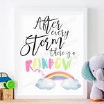 Rainbow Baby Nursery Wall Art, After Every Storm There Is A Rainbow, Pastel Rainbow Watercolor Nursery Art Print, PRINTABLE, 8 x 10