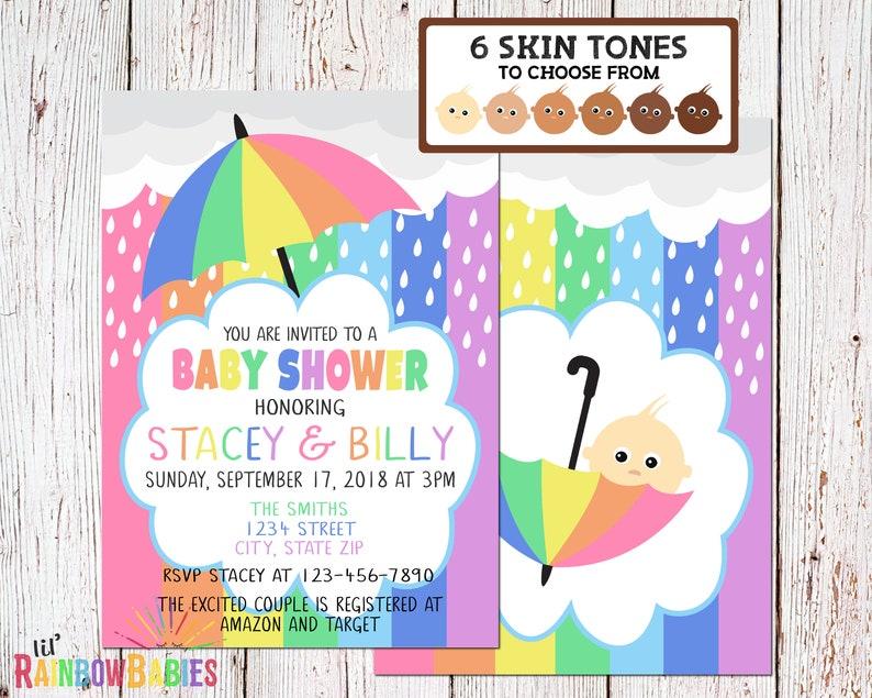 Rainbow Baby Shower Invitations PRINTABLE Pastel Rainbow Baby image 0