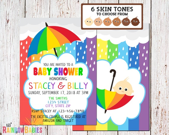 Rainbow Baby Invitation