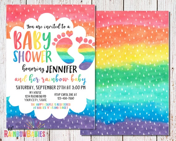 Rainbow Baby Shower Invitations Printable Baby Shower Etsy