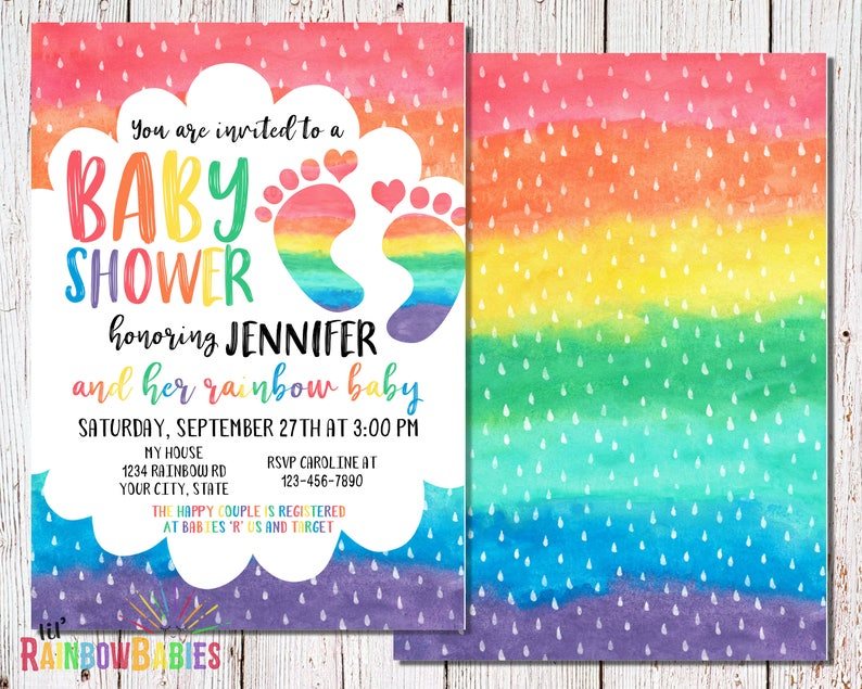 Rainbow Baby Shower Invitations PRINTABLE Baby Shower image 0