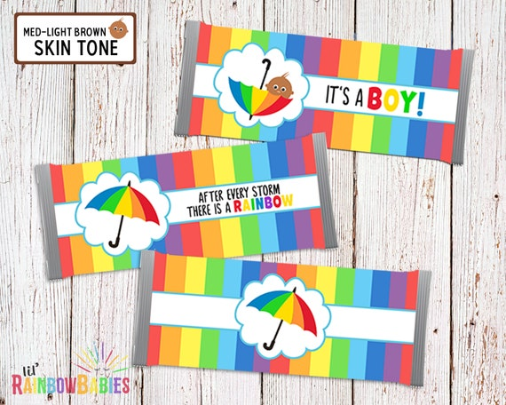 image regarding Printable Hershey Bar Wrappers named Printable Chocolate Bar Wrappers, Rainbow Little one Shower Favors, Kid Shower Chocolate Bar Favors, Sweet Bar Wrapper, Med-Mild Brown Pores and skin Tone