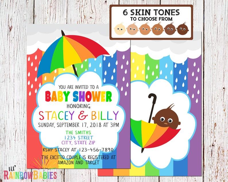 Baby Shower Invitation PRINTABLE Rainbow Baby Shower Invites image 0