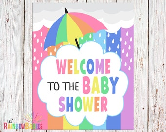PRINTABLE Welcome Baby Shower Sign, Baby Shower Party Sign, Pastel Rainbow Welcome Sign, Rainbow Baby Shower Welcome Sign, INSTANT DOWNLOAD