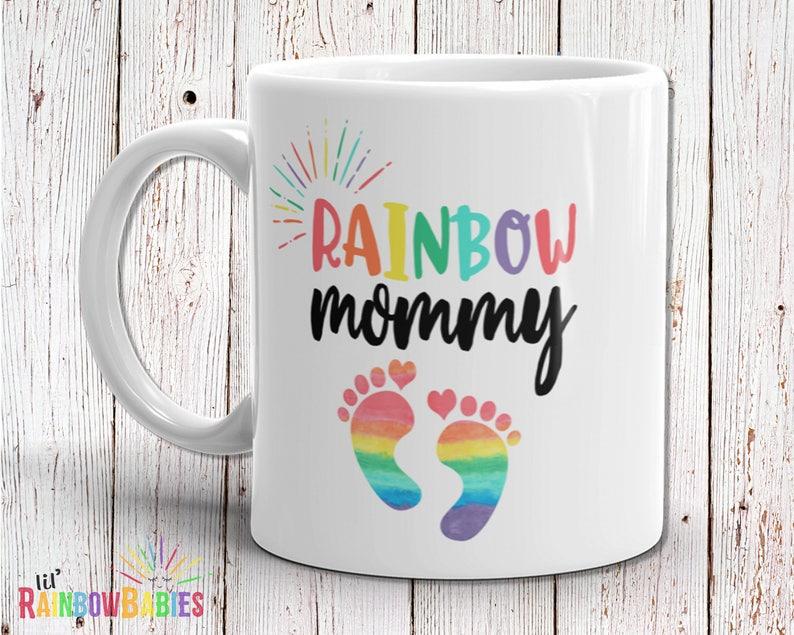 Rainbow Mommy Mug Baby Shower Gift Idea New Mom Gift Baby image 0