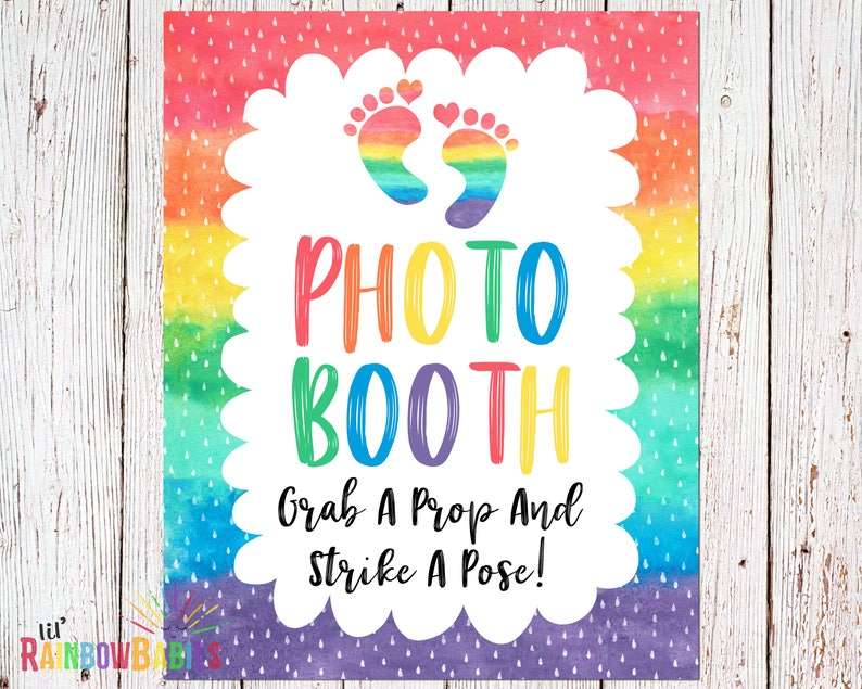 Photo Booth Sign Rainbow Baby Shower Grab A Prop And Strike image 0