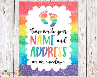 PRINTABLE Rainbow Baby Shower Party Sign, Name And Address Sign, Printable Baby Shower Sign, Baby Shower Decoration, Baby Shower Decor