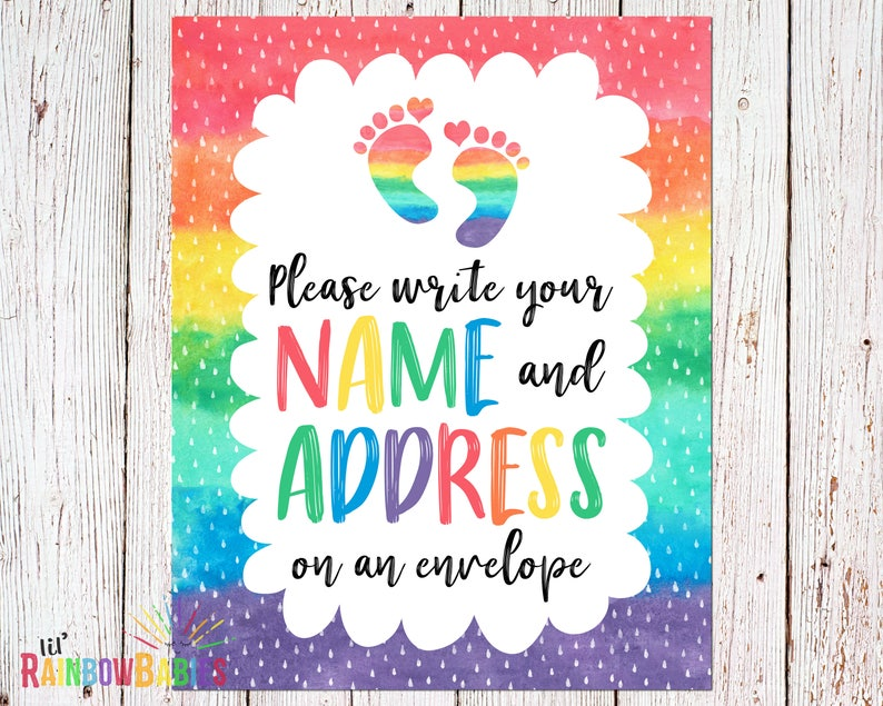 PRINTABLE Rainbow Baby Shower Party Sign Name And Address image 0