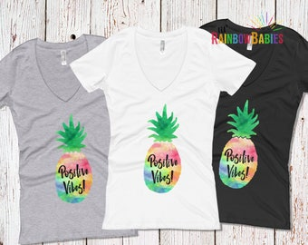 Positive Vibes Shirt For Women, Infertility Gift For Women, Rainbow Pineapple Shirt, IVF Gift, Pineapple Gift, IVF Pineapple Gifts, PCOS