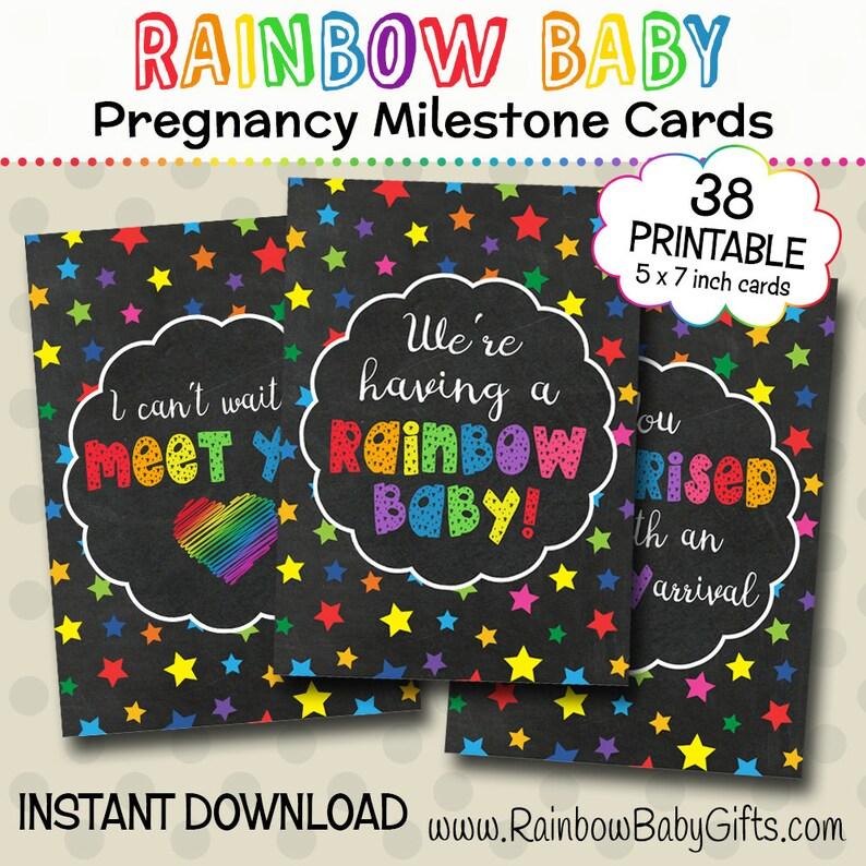 Rainbow Pregnancy Milestone Cards Rainbow Stars Chalkboard image 0