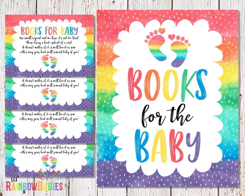 PRINTABLE Books For Baby Baby Shower Book Request Rainbow image 0
