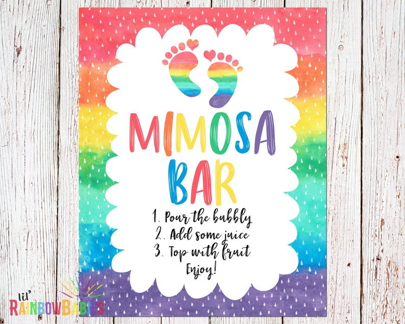 PRINTABLE Mimosa Bar Sign Rainbow Baby Shower Sign Baby image 0
