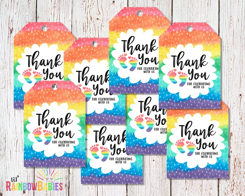 PRINTABLE Baby Shower Thank You Tags Rainbow Baby Thank You image 0