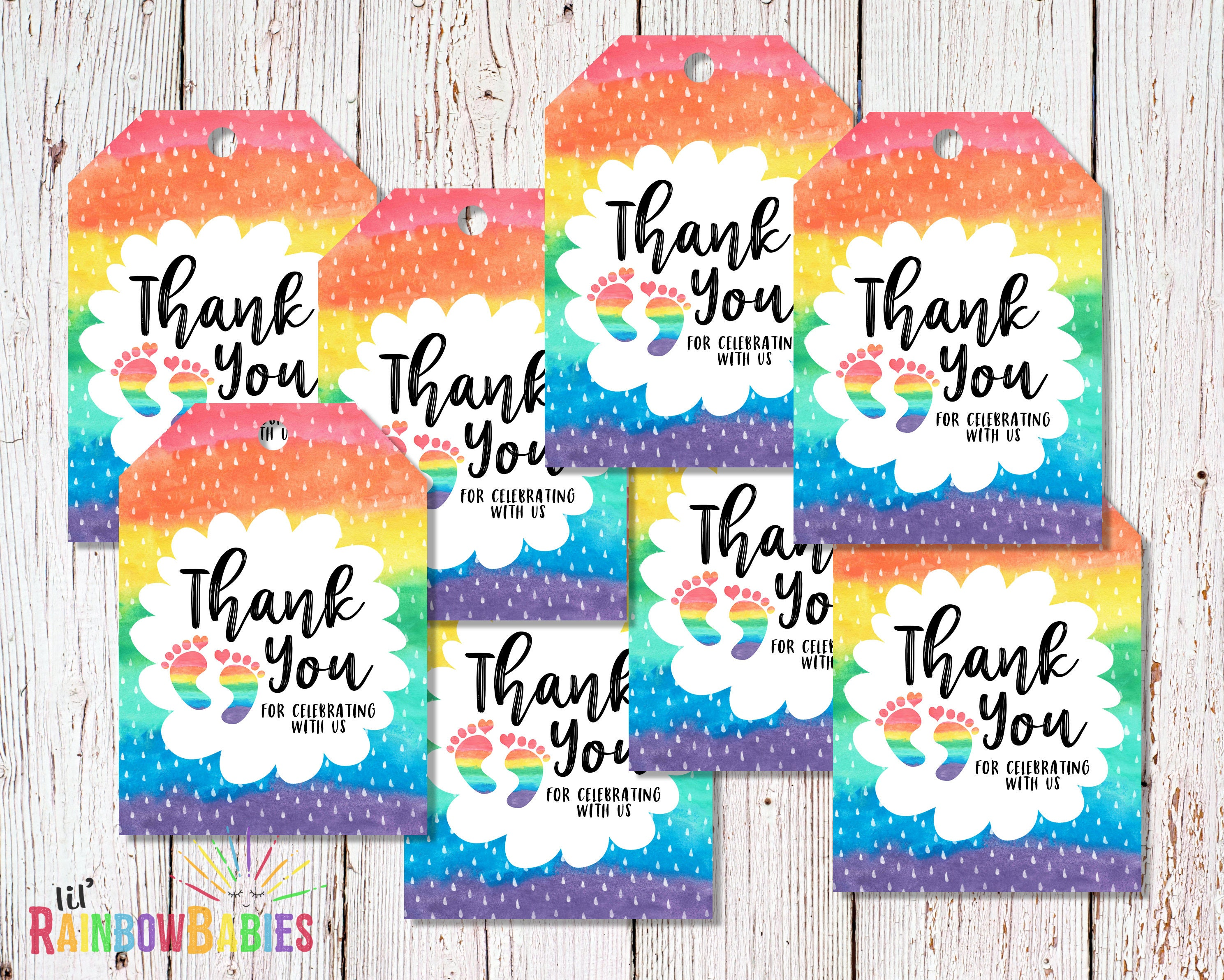 PRINTABLE Baby Shower Thank You Tags Rainbow Baby Thank ...