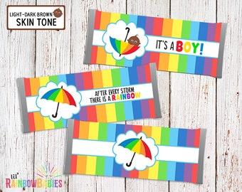 Printable Chocolate Bar Wrappers, Rainbow Baby Shower Favors, Baby Shower Chocolate Bar Favor, Candy Bar Wrapper, Light-Dark Brown Skin Tone