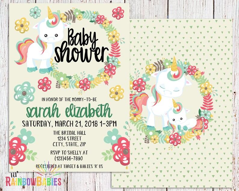 Baby Unicorn Baby Shower Invitation PRINTABLE Baby Shower image 0
