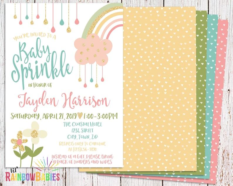 Rainbow Baby Sprinkle Invitation Rainbow Baby Sprinkle image 0