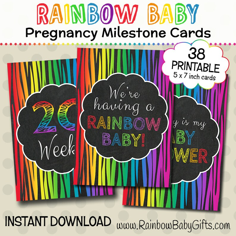 Rainbow Pregnancy Milestone Cards PRINTABLE Rainbow Baby image 0