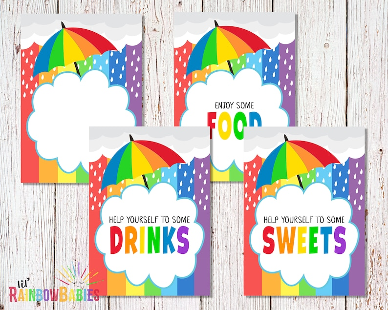 Food Signs PRINTABLE Rainbow Baby Shower Food Signs Sweets image 0