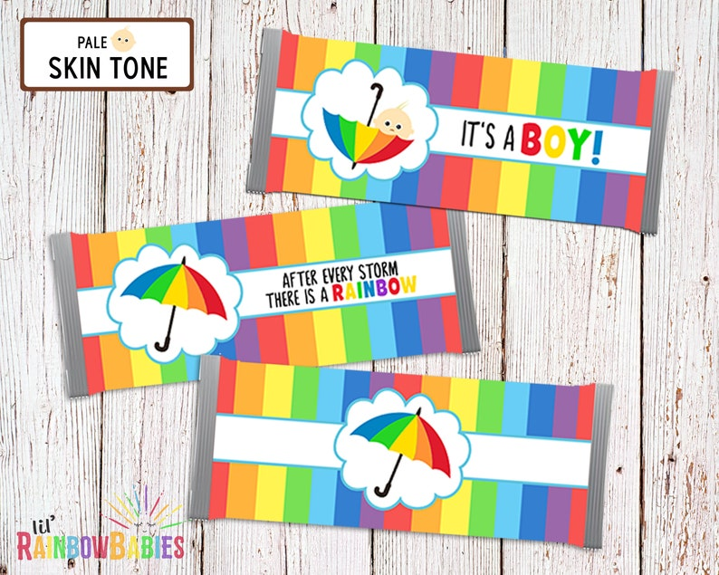 Printable Chocolate Bar Wrappers Rainbow Baby Shower Favors image 0